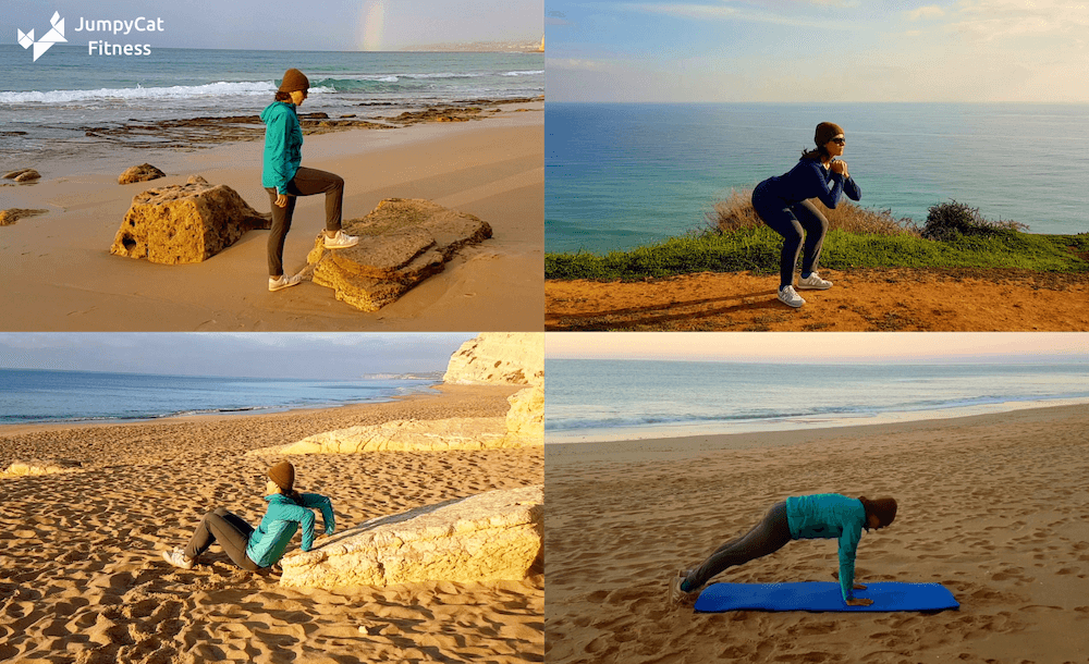 Screenshots from the JumpyCat fitness coach app showing a woman doing step-ups, squats, triceps dips, and planks on a beach