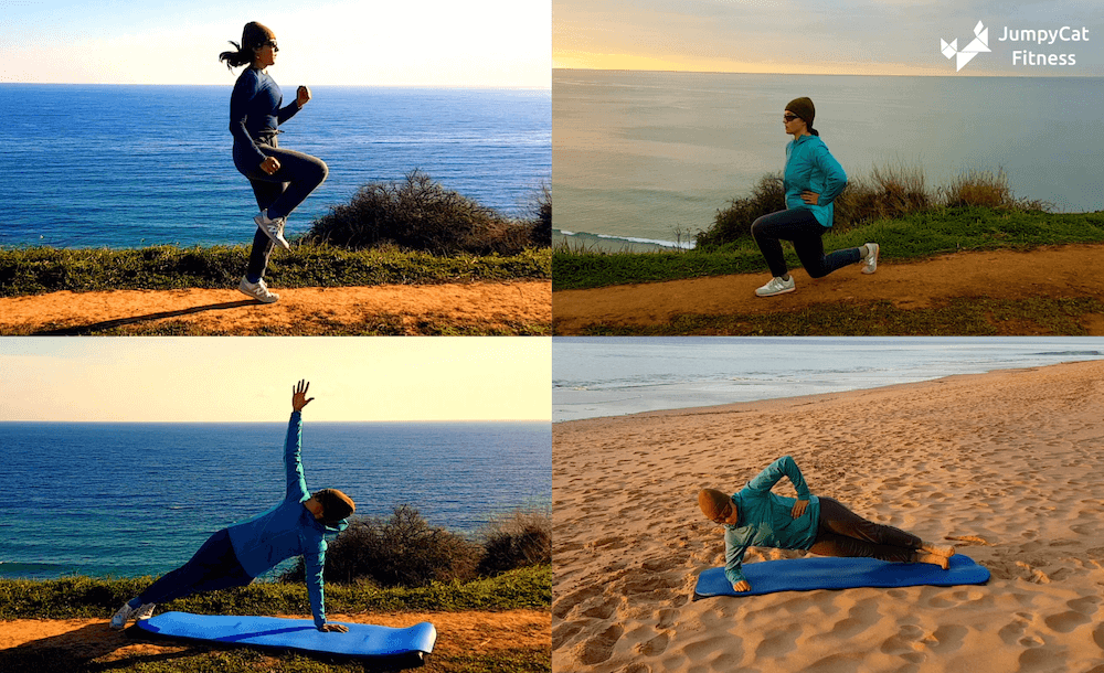 Screenshots from the JumpyCat fitness coach app showing a woman doing exercises on a beach